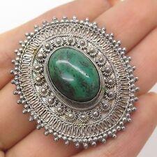 Vtg Israel 925 Sterling Silver Real Eilat Gemstone Handmade Pendant Brooch