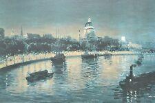 """FAB GRANDE metà del secolo Vintage Incorniciato Stampa """"Capitol DI NOTTE"""" by Max HOFLER"""