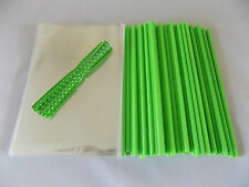 "50 x GREEN CAKE POP KIT 6"" LOLLY STICKS 4""x 6""  CELLO BAGS & POLKA TIES"