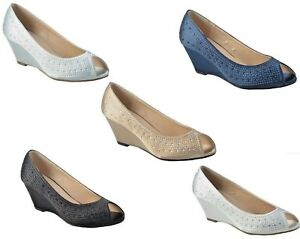 Ladies Sparkly Evening Peep Toe Satin Wedge Shoes Size 3,4,5,6,7,8
