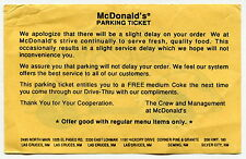"""Unusual McDONALDS """"Parking Ticket"""" Giveaway For Slow Service [NM]"""