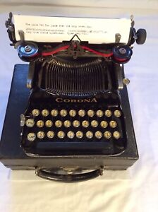 Vintage 1917 Corona 3 Folding Typewriter & Case-Types Good Nice Luster & Keybrd