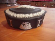 Wedgwood Black Basalt Hexagonal Trinket Box with Lid. Present Gift.