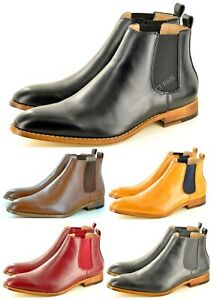 Mens Chelsea Boots Pointed Toe Ankle Italian Style Leather Lined UK Sizes 7-12