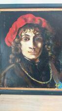 Portrait huile sur panneau signé. Portrait oil on panel signed