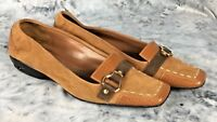 Cole Haam Air Soles Women's Sz 71/2 Bown Suede Leather Driving Loafer Sq Toe