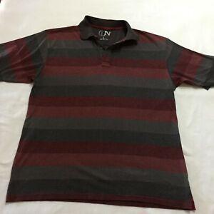 Jack Newton Men's Grey & Burgundy striped Golf Polo Shirt Size L