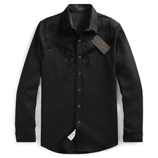 RRL Ralph Lauren Western Limited Edition Black Shirt 1940's Snap Wool Medium M