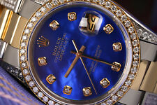 31mm Rolex Oyster Perpetual Datejust Blue MOP Dial Diamond Ladies 2 Tone Watch
