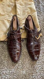 Men's Mauri s Dress Shoes Size 10 M Genuine Alligator Italy (Cognac Brown )