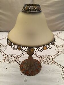 PARTYLITE PARIS TEALIGHT LAMP GLASS SHADE GOLD COLOUR  HAS LOTS OF DAMAGE