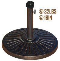 """ABBLE 18"""" 32lbs Outdoor Living Heavy Duty Round antiqued Patio Umbrella Base"""