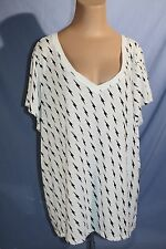TORRID Womens White With Black Lightening Bolts Sheer Stetchy Tee PLUS SZ-4X
