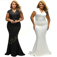 Womens Plus Size Formal Wedding Cocktail Evening Gala Party Ball Gown Long Dress
