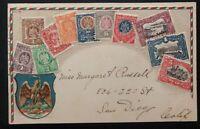 1906 Tijuana Mexico Stamp On Stamp Postcard cover To San Diego Ca USA