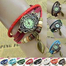 Women Vintage Boho Weave Wrap Bracelet Faux Leather Quartz Wrist Watch Watchband