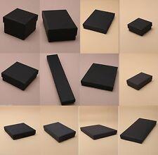 PACK OF 12 BLACK CARD GIFT JEWELLERY BOXES: BLACK FLOCKED INSERT  WHOLESALE BULK