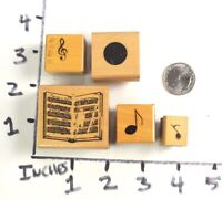 Wooden RUBBER STAMP Block Stamp Lot Music Sheet Music Notes