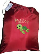 Kids Drawstring Swim / Shopping Bag - Personalised Happy Turtle -First name FREE