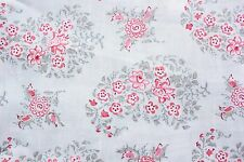 Dear Stella Floral Fabric Vintage Gray Pink Paisley Cotton Quilting 1/2 Metre