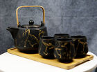 Black Faux Marble With Gold Veins Ceramic Tea Pot And Cups With Tray Set For 4