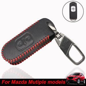2 Button Leather Car Key Fob Case Cover For Mazda CX-3 CX-5 CX-7 2 3 5 6 CX9 MX5