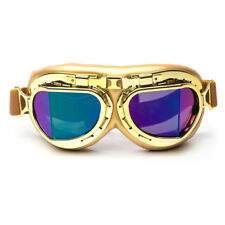 Vintage Gold Goggles Eyewear Glasses For Harley Racing Skiing Hunt Party Cosplay