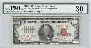 USA $100 Dollars 1966 Legal Tender Note A00344189A PMG VF 30