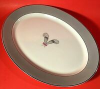 "SYRACUSE CHINA CORONET PLATTER OVAL 14"" SILVER TRIM GRAY WHITE FEATHERS RIBBON"