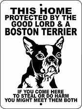 Boston Terrier Dog Sign, Security Aluminum Guard Dog Sign Warning Dog Glbtr