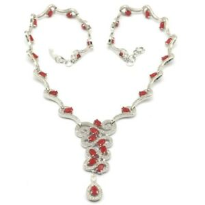 Fantastic 34.7g Real Red Ruby CZ Fashion Jewelry Silver Necklace 17.5-18.5inch