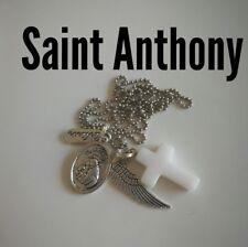 Code 501 Saint Anthony white Jade cross Infused necklace Spiritual Prosperity