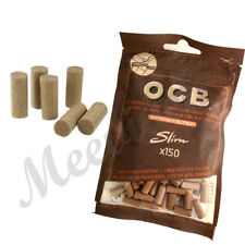 OCB SLIM VIRGIN UNBLEACHED ECO 6mm TIP CIGARETTE FILTER TIPS RESEALABLE BAGS UK