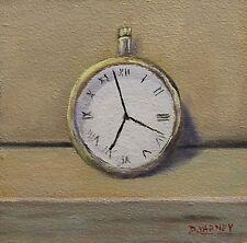 Original Still Life Oil Painting Pocket Watch Realism Artist Framed Art