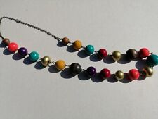 Wooden Bead Necklace Multi Coloured Ethnic