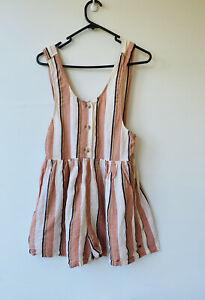 Billabong Playsuit Size 6 Pink White Pockets Stripe Linen Blend Pre Owned