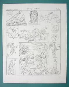 MYTHOLOGY Gods of Seas Thetis Nereides Neptune Dolphin - 1825 Antique Print
