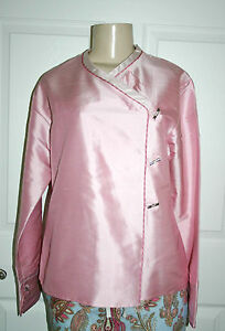 New KAI MIRA Sz S Pink Striped Trim 100% Silk Asian Toggle Blouse Top Boutique