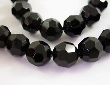 12mm Black faceted Glass beads
