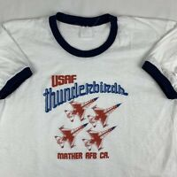 VTG 80s Air Force Thunderbirds USAF Ringer T-Shirt Large Air Show Jet Plane USA