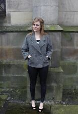Vintage 1980s Double-Breasted Grey Jacket Blazer Pea Coat Size 12 St.Michael M&S