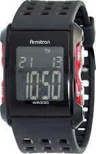 Armitron Men's Black Resin Digital Watch, 100 Meter WR, Chronograph, 40/8177RED