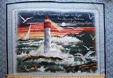 "36"" X 43"" Panel Lighthouse Water Sailboat Landscape Cotton Fabric Panel D767.04"