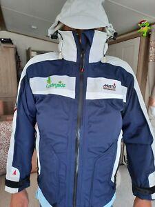Musto Mens Ladies Performance BR1 Waterproof Hooded Jacket - Blue & White- Small