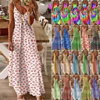 Womens Boho Summer Holiday Long Sling Dress Party Maxi Strappy Sundress ySEGZ