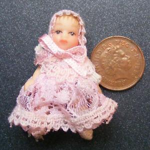 Baby In Pink Nursery Tumdee 1:12 Scale Dolls House Miniature Accessory 156