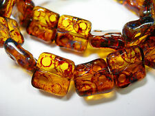 15 Amber Picasso Czech Glass Square Window Beads 10mm