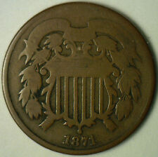 1871 2 Cents United States Type Coin Copper Two Cent Good G