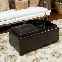 Contemporary Rectangular Storage Ottoman Leather 2-Tray-Top Coffee Table