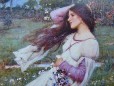 """Pre-Raphaelite WIND FLOWERS flower art print young girl J. W. Waterhouse 7"""" x 5"""""""